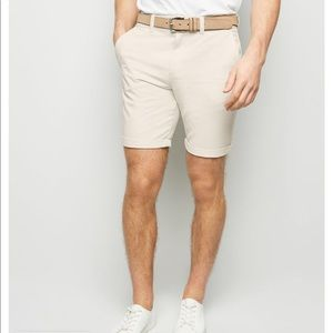 Men TopMan Off-White Slim-Fit Chino Shorts 7 inch